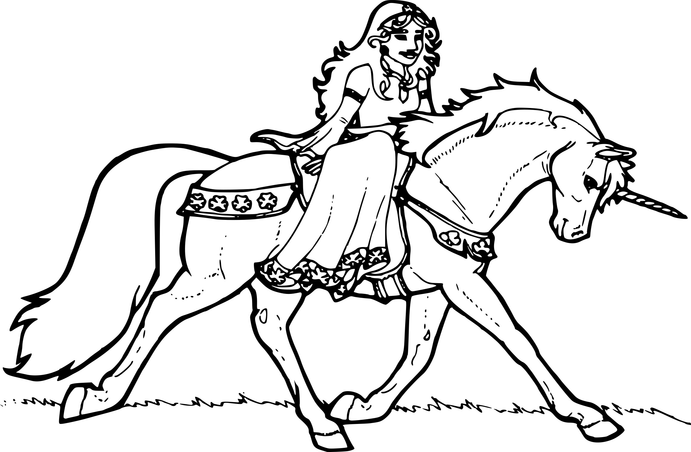 Coloriage Princesse avec licorne à imprimer sur COLORIAGES .info