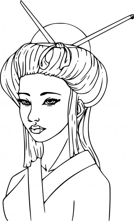 Coloriage Princesse chinoise à imprimer