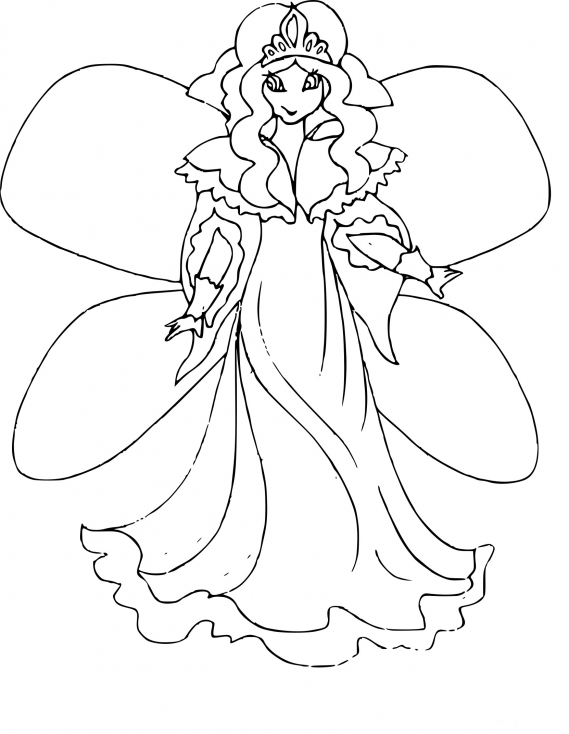 Coloriage Princesse fée à imprimer