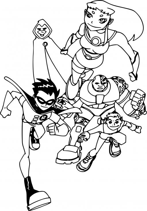Coloriage Teen Titans : Les Jeunes Titans à imprimer