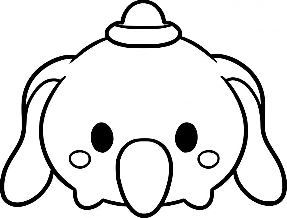 Coloriage Tsum Tsum Dumbo à imprimer