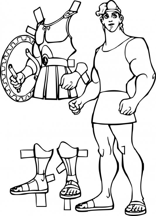 Coloriage Hercule armure à imprimer