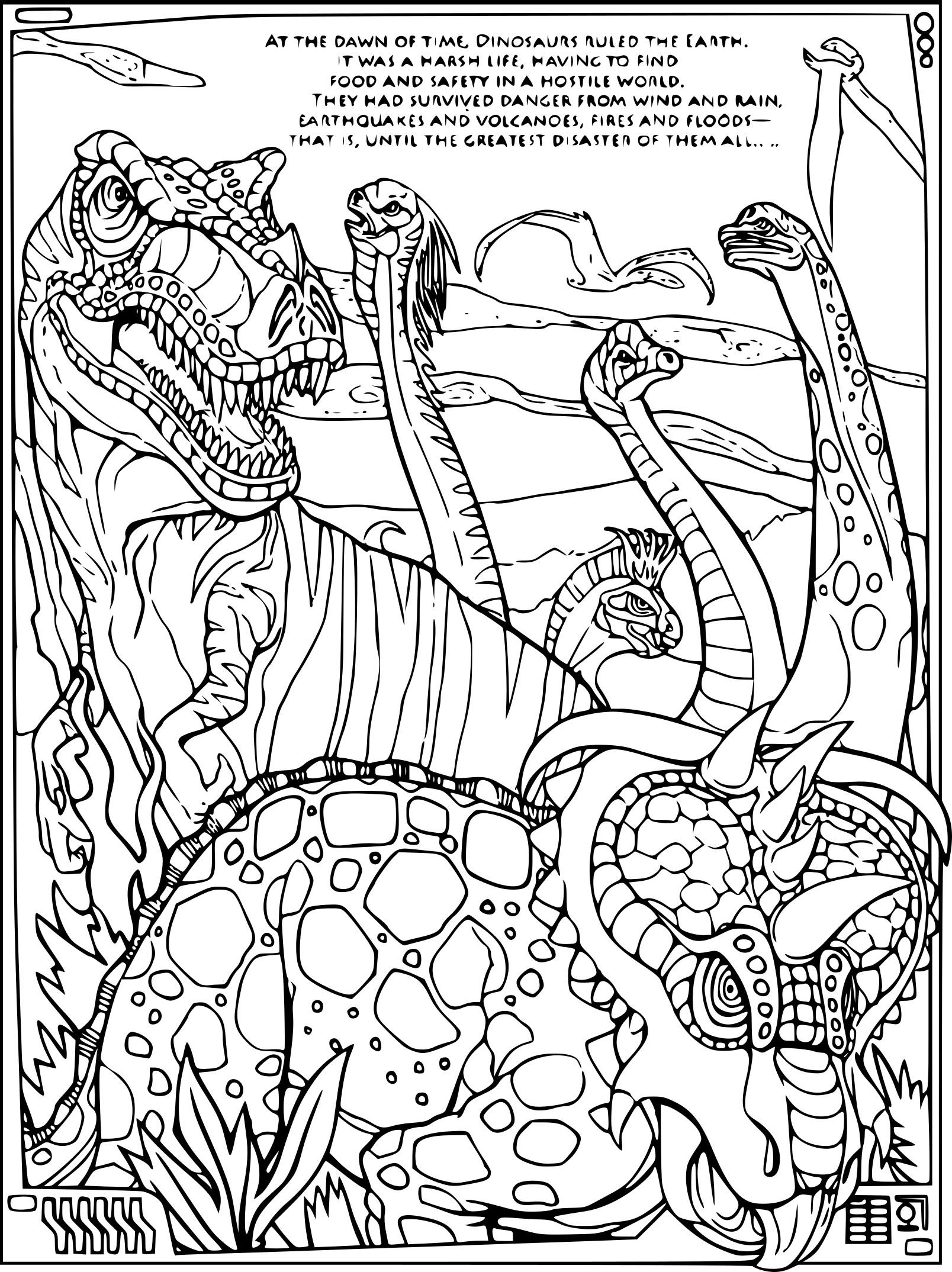 Coloriage Dinosaure adulte à imprimer sur COLORIAGES .info