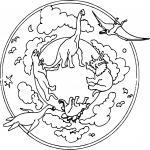Dinosaure mandala dessin à colorier