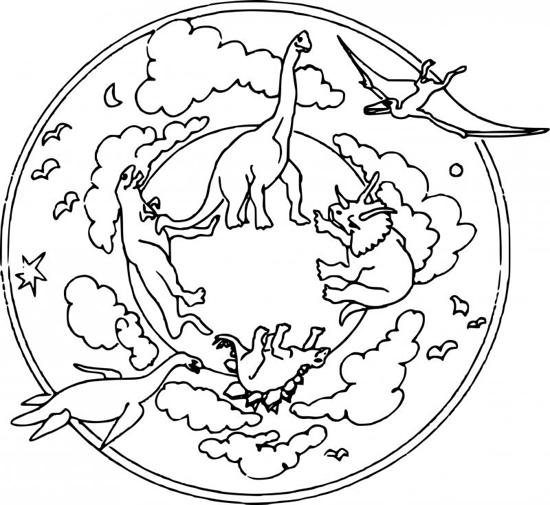 Coloriage Dinosaure mandala à imprimer