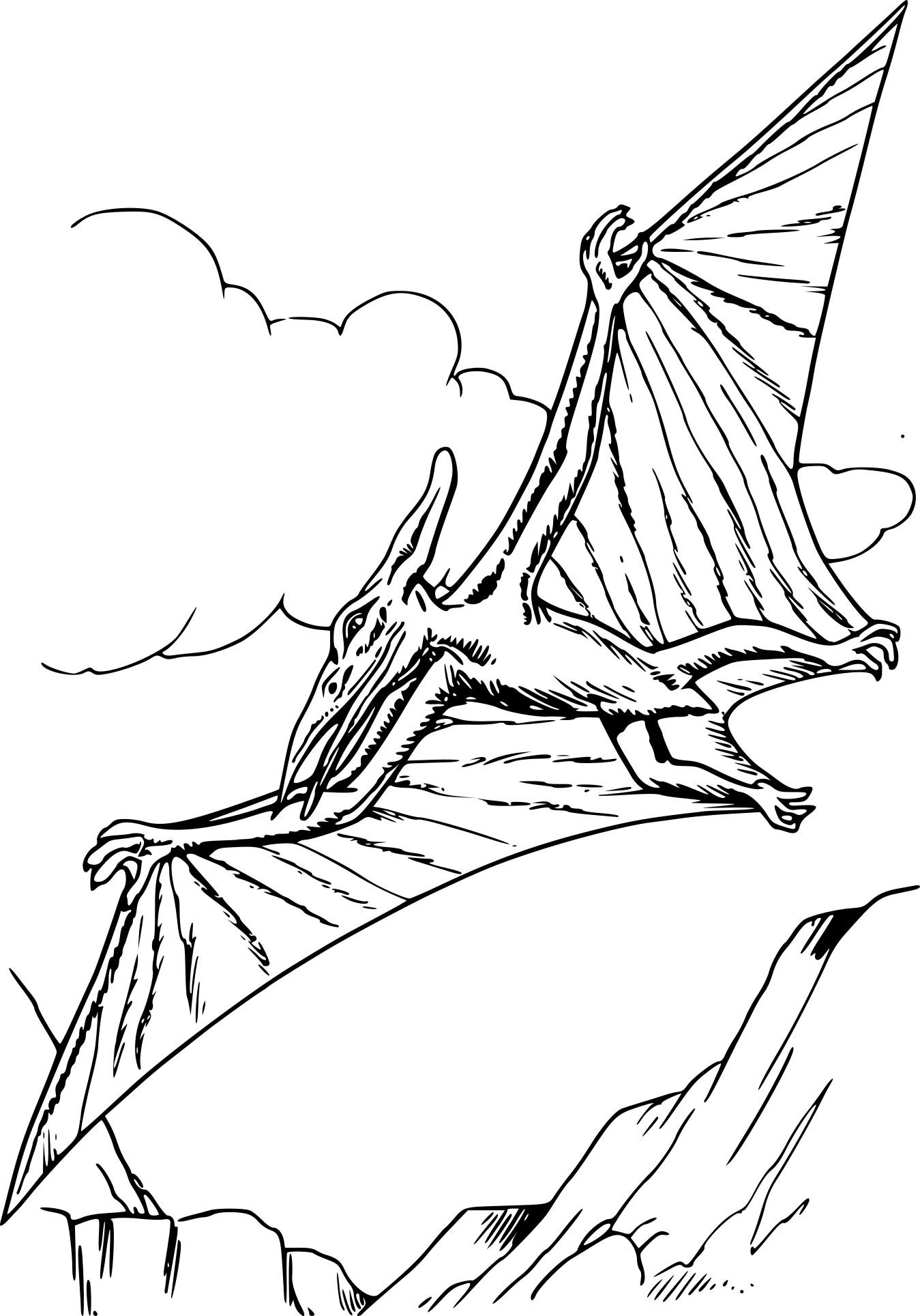 Coloriage Dinosaure pterodactyle à imprimer sur COLORIAGES .info
