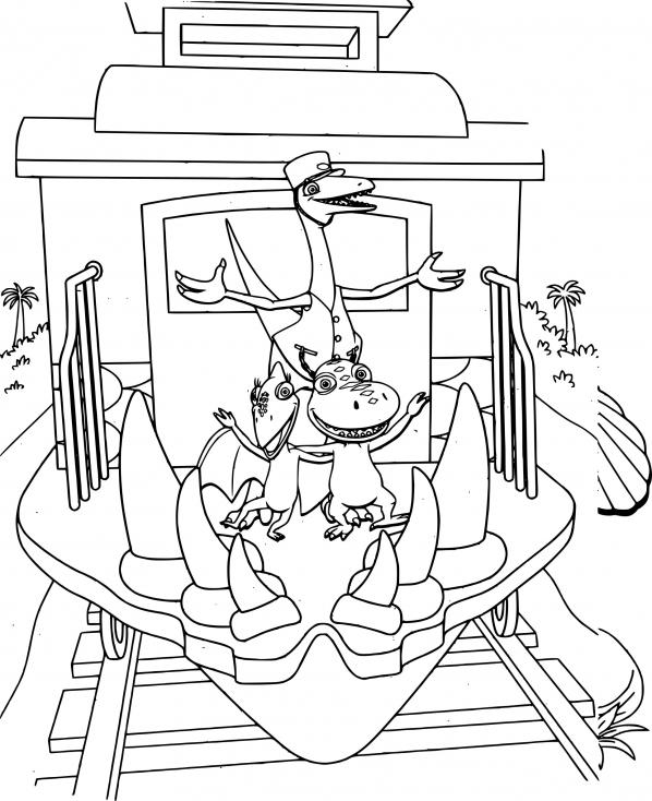 Coloriage Le Dino train à imprimer