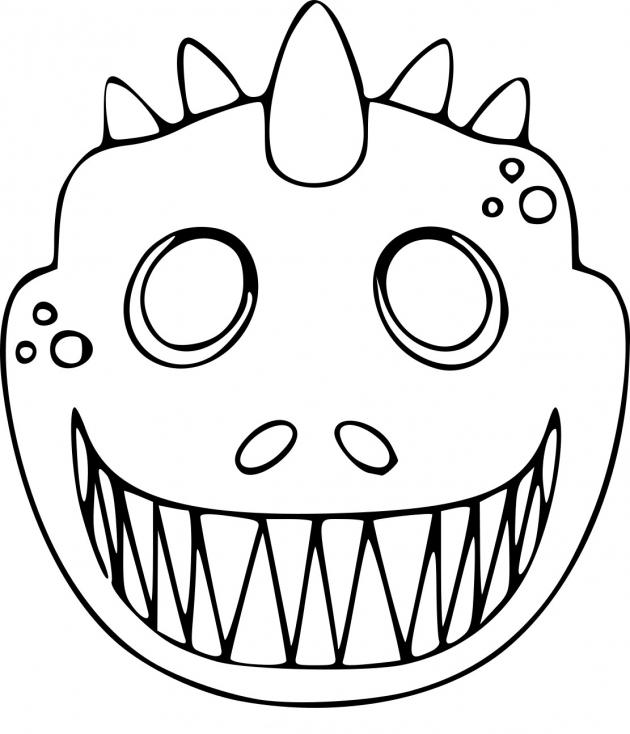 Coloriage Masque dinosaure à imprimer
