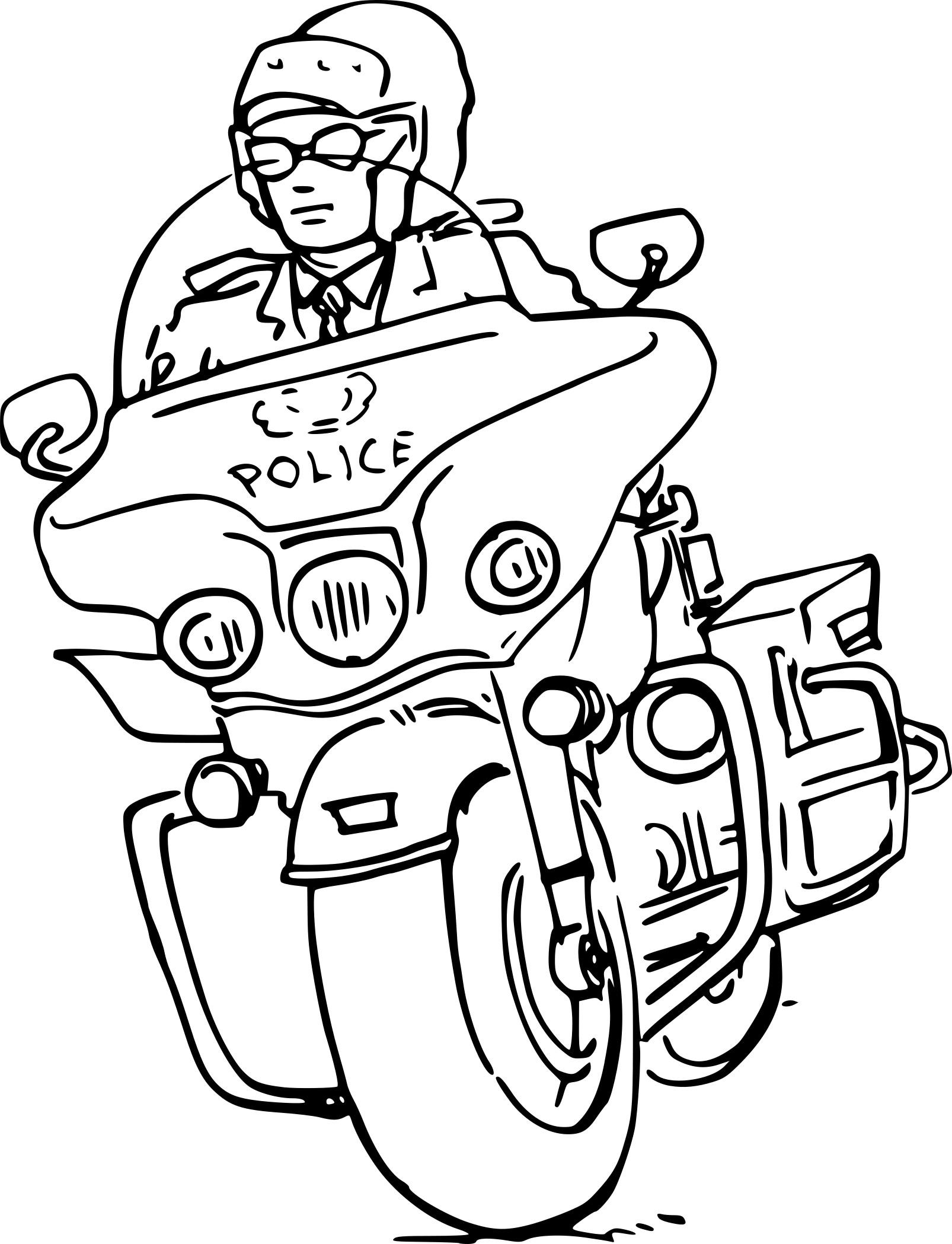 Coloriage Moto Police à imprimer sur COLORIAGES .info