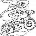 Sorcière en moto dessin à colorier