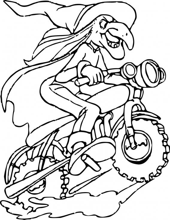 Coloriage Sorcière en moto à imprimer