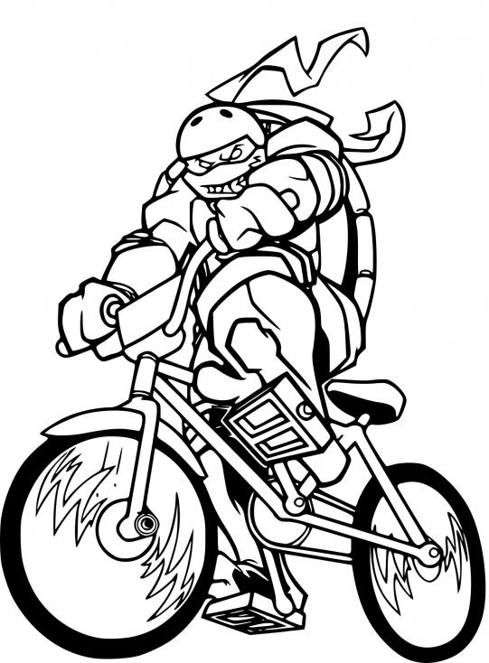 Coloriage Tortue Ninja en moto à imprimer