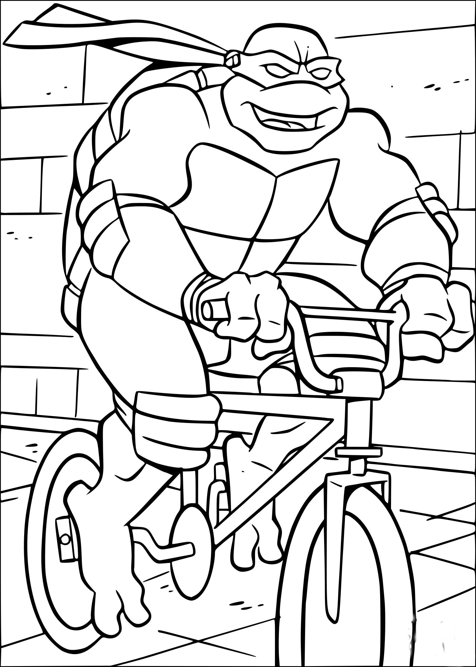 Coloriage Tortue Ninja en vélo à imprimer sur COLORIAGES .info