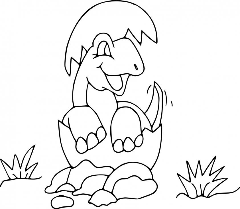 Coloriage Dinosaure mignon dessin à imprimer