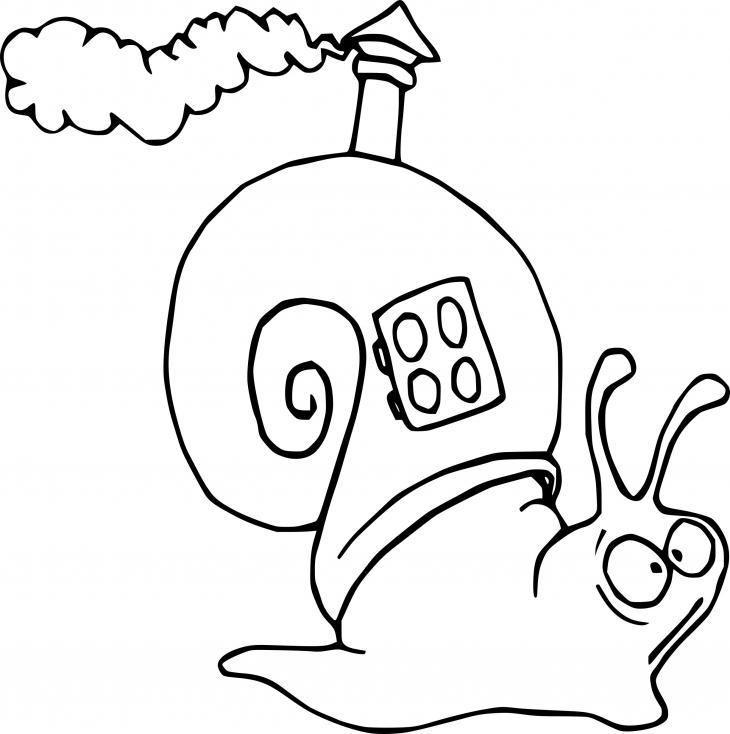 Escargot avec cheminée sur le dos