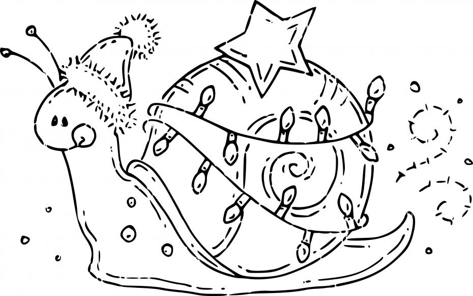 Coloriage Escargot à noël à imprimer
