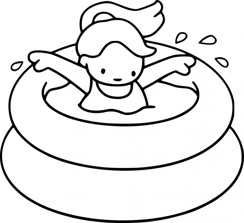 Coloriage Été piscine  à imprimer