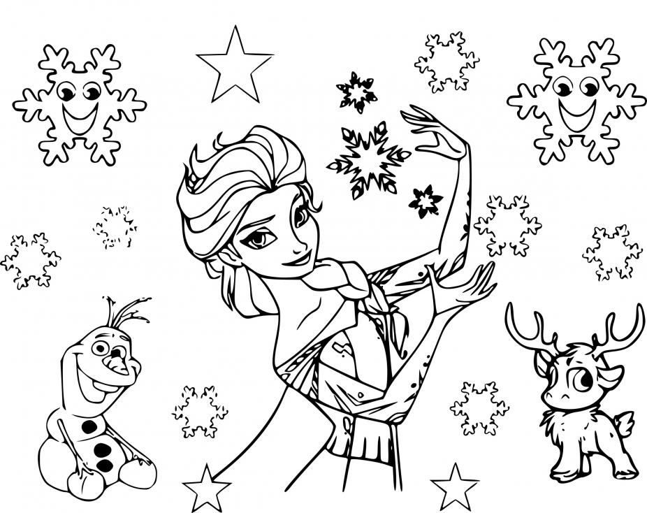 Coloriage Etoile Reine des neiges à imprimer