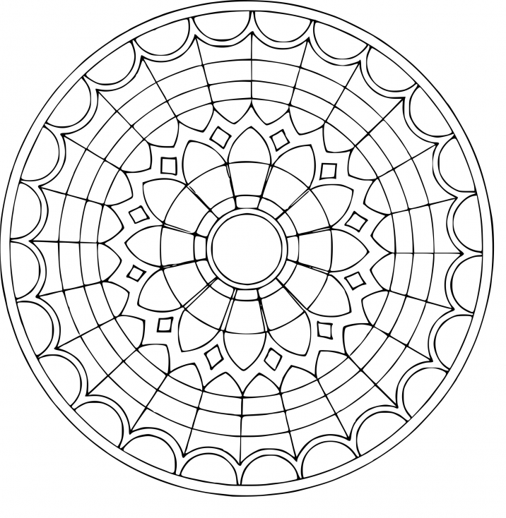 Coloriage Mandala vitrail à imprimer