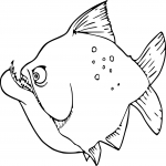 Poisson piranha dessin à colorier
