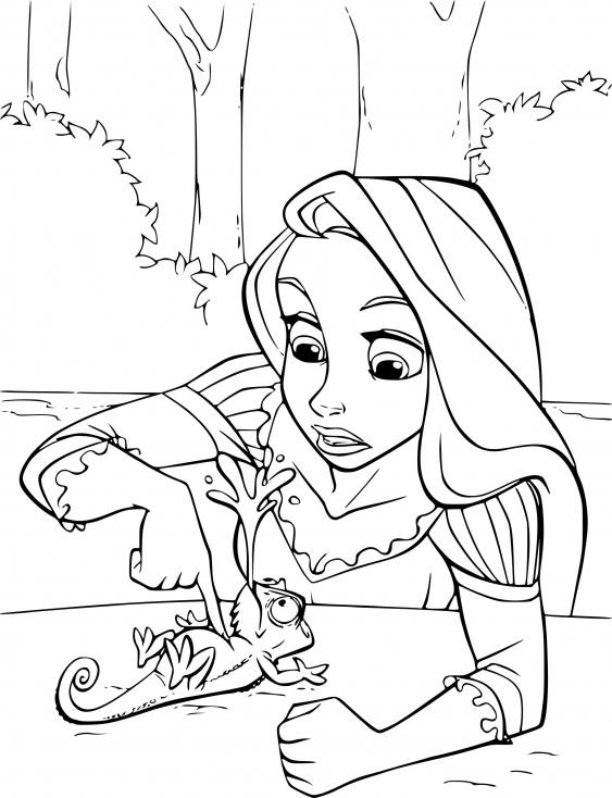Coloriage raiponce et pascal imprimer sur coloriages info - Dessin a imprimer raiponce ...