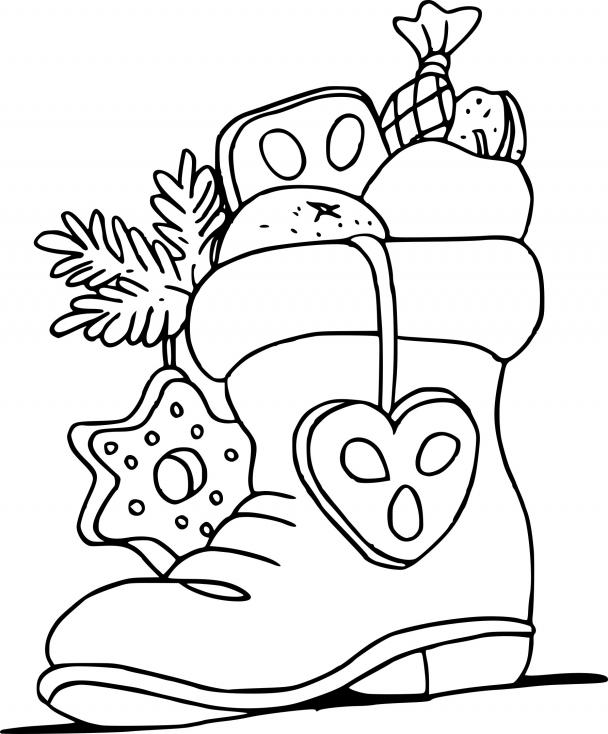 Coloriage Botte de Noel dessin à imprimer