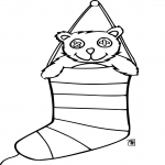 Chaussette sur cheminée de Noel dessin à colorier
