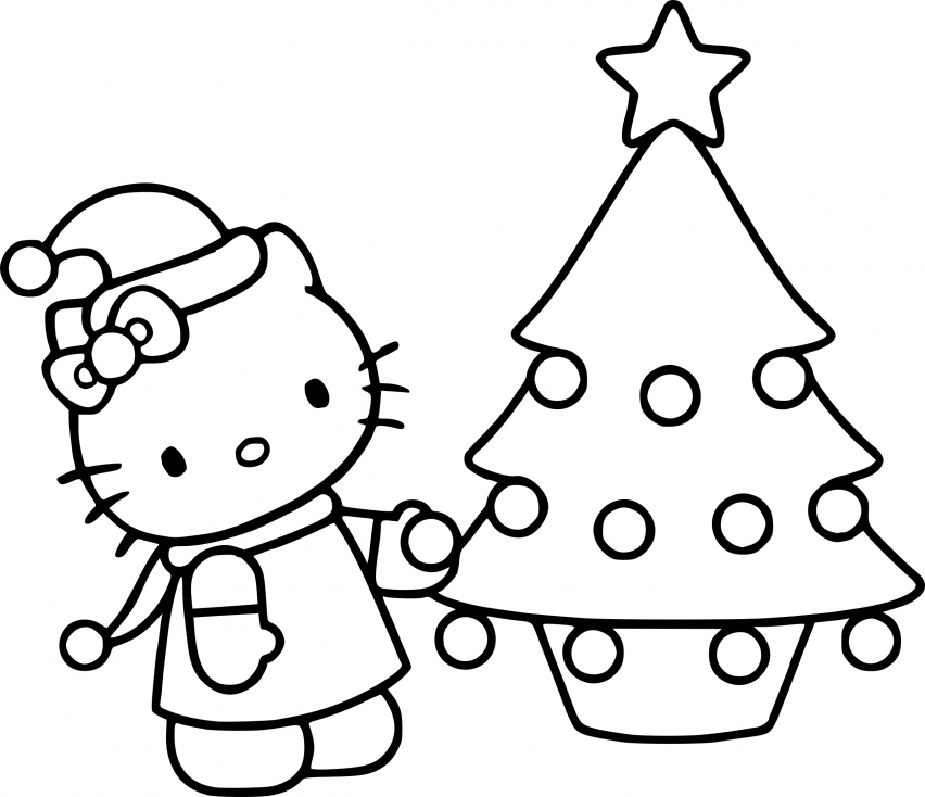 Coloriage Hello Kitty noël  à imprimer