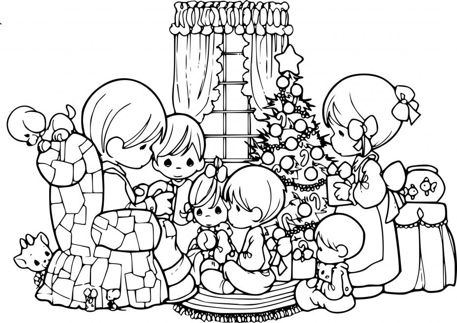 Coloriage Livre de Noel en famille à imprimer