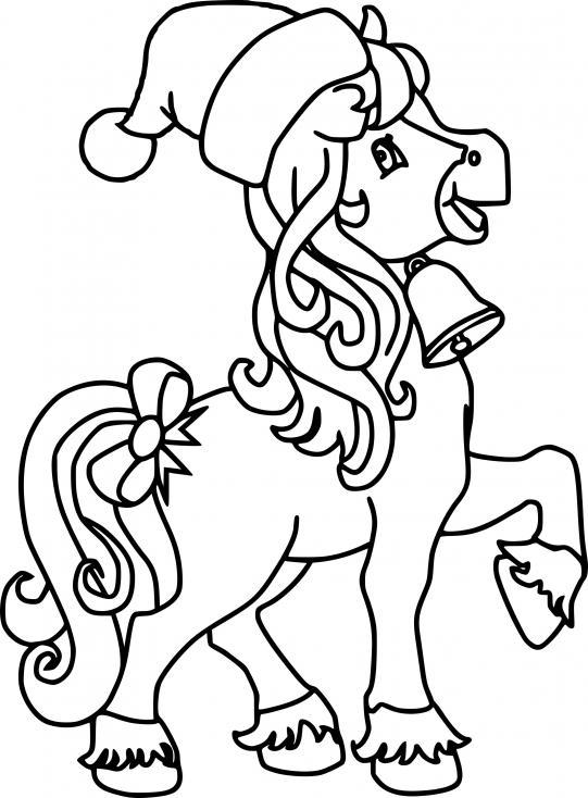 Coloriage Noël cheval à imprimer