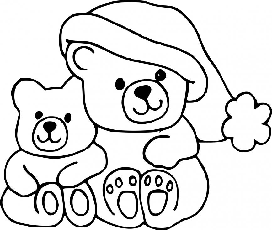 Coloriage Noël ourson à imprimer