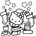 Coloriage Père noël Hello Kitty
