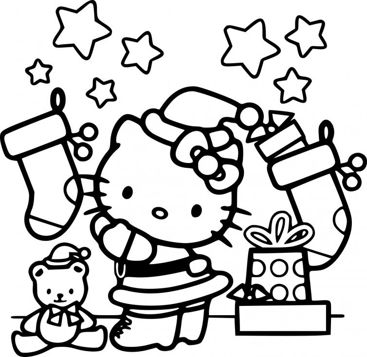 Coloriage Père noël Hello Kitty à imprimer
