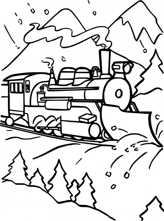 Coloriage Train avec de la neige à imprimer