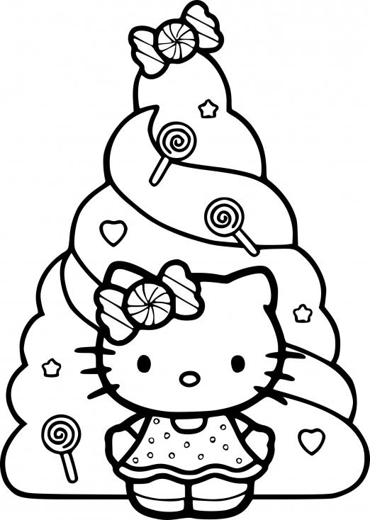 Coloriage hello kitty noel dessin imprimer sur coloriages info - Coloriage tete hello kitty a imprimer ...