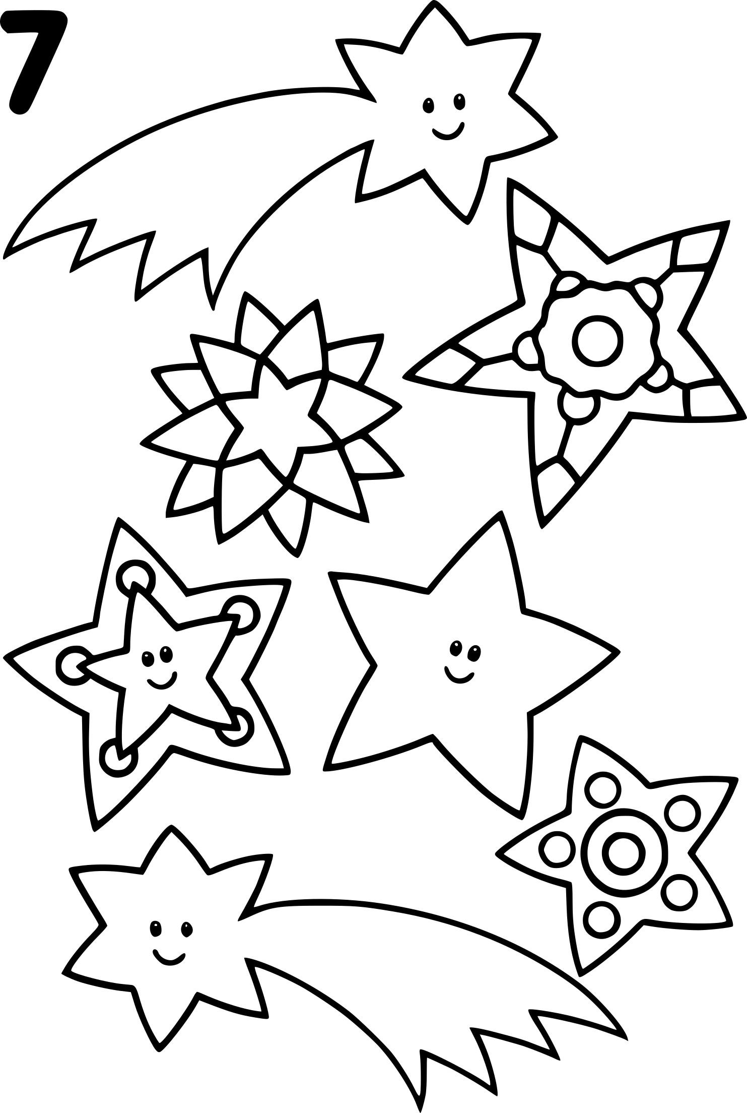 Coloriage Etoile filante et Noel à imprimer sur COLORIAGES .info
