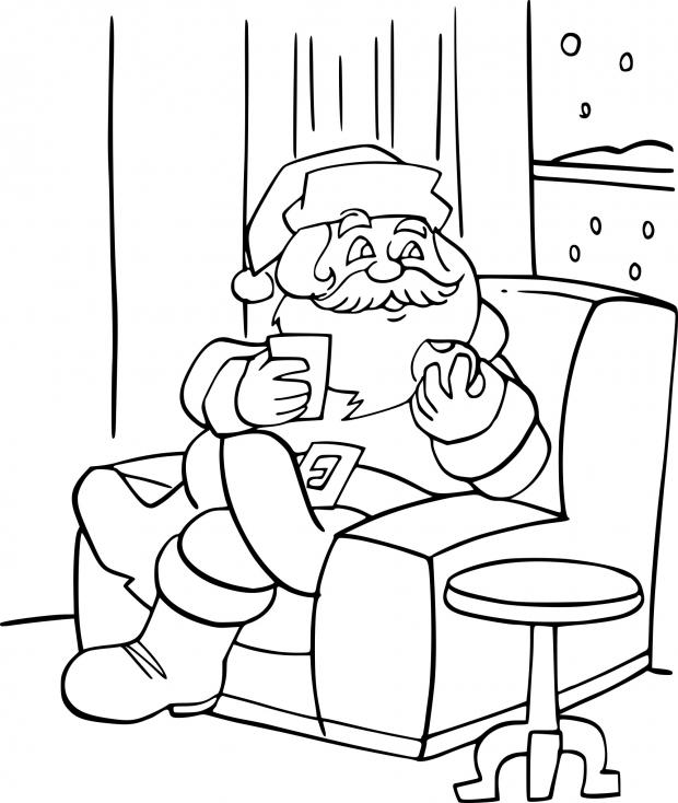 Coloriage Père Noël dans sa maison à imprimer
