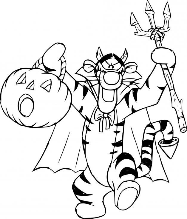 Coloriage Tigrou halloween à imprimer