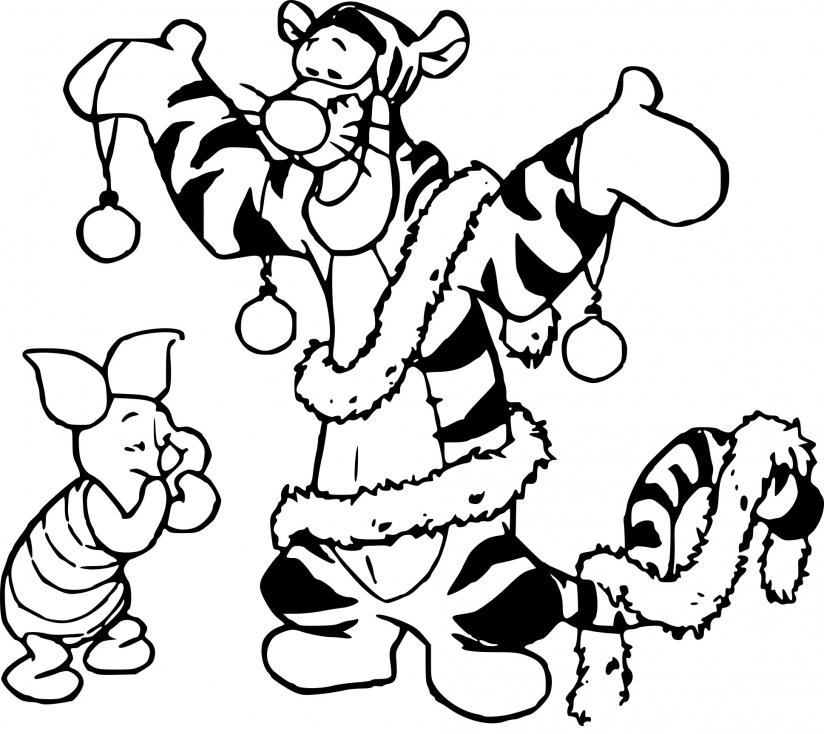 Coloriage Tigrou à Noël à imprimer