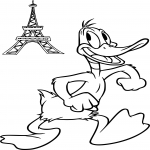 Daffy Duck à Paris dessin à colorier