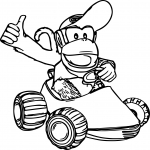 Diddy Kong Mario Kart dessin à colorier
