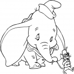 Dumbo et le rat Timothy dessin à colorier